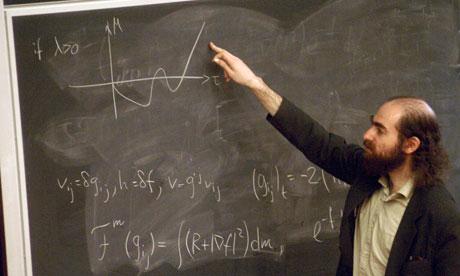 Grigori Perelman explaining his proof of the Poincaire Conjecture